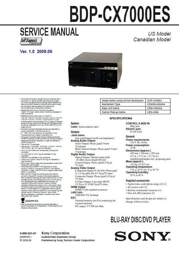 Sony Bdp Cx7000es Multi Disc Blu Ray Player Service Manual Repair Guide Blu Ray Player Blu Ray