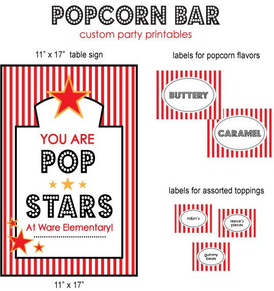 "CUSTOM ""POP STARS"" Popcorn Bar, Teacher Appreciation ..."