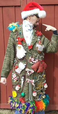 """Unisex Ugly Christmas Sweater~Santa Head~Snowman~Feathers~Lots Christmas Deco''~ Long Green Button up~So Tacky Needing ideas for a FUN Ugly Christmas Sweater Party check out """"The How to Party In An Ugly Christmas Sweater"""" at Amazon.com"""