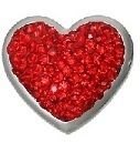 Red Silver Tone heart, 5.5 mm, $5.00
