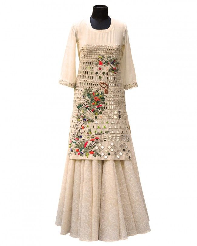 Parsi Embroidered Dress with Skirt