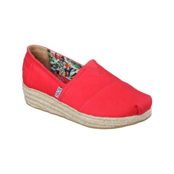 Women's Skechers BOBS Highlights Alpargata - Red Casual ($47) ❤ liked on Polyvore featuring shoes, sneakers, red, wedge sneakers, slip on shoes, grip trainer, red wedge shoes en red slip on sneakers