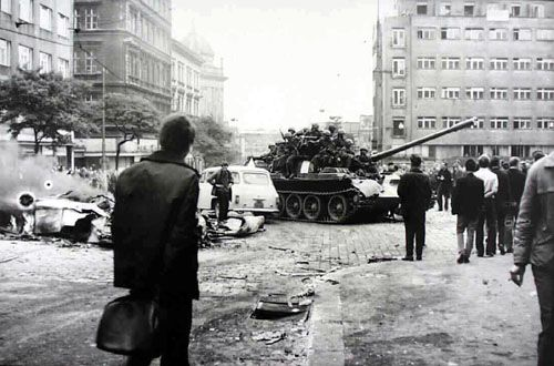 Soviet tanks in Prague, 1968.  From http://xenohistorian.faithweb.com/europe/