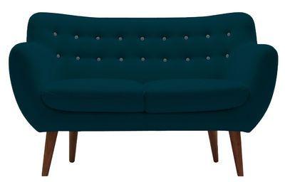 Canapé droit Coogee / 2 places - L 132 cm Bleu canard / Boutons : bleu ciel - Sentou Edition - Décoration et mobilier design avec Made in Design