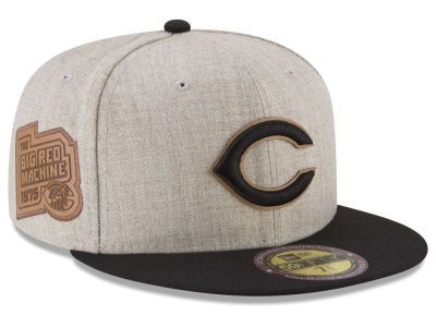 new concept 8cacc 24ca5 Cincinnati Reds New Era MLB Leather Ultimate Patch Collection 59FIFTY Cap
