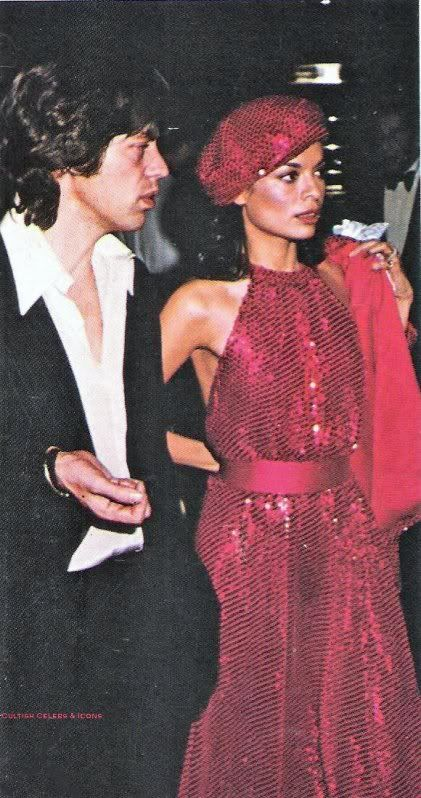 mick and bianca at studio 54 color photo print ad model magazine red sequin dress beret hat tam halter long gown movie star celebrity 70s fashion
