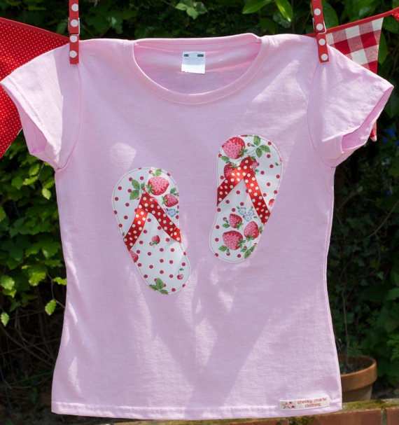 strawberry flip flop applique t shirt by cheekycharlieTs on Etsy, £12.00