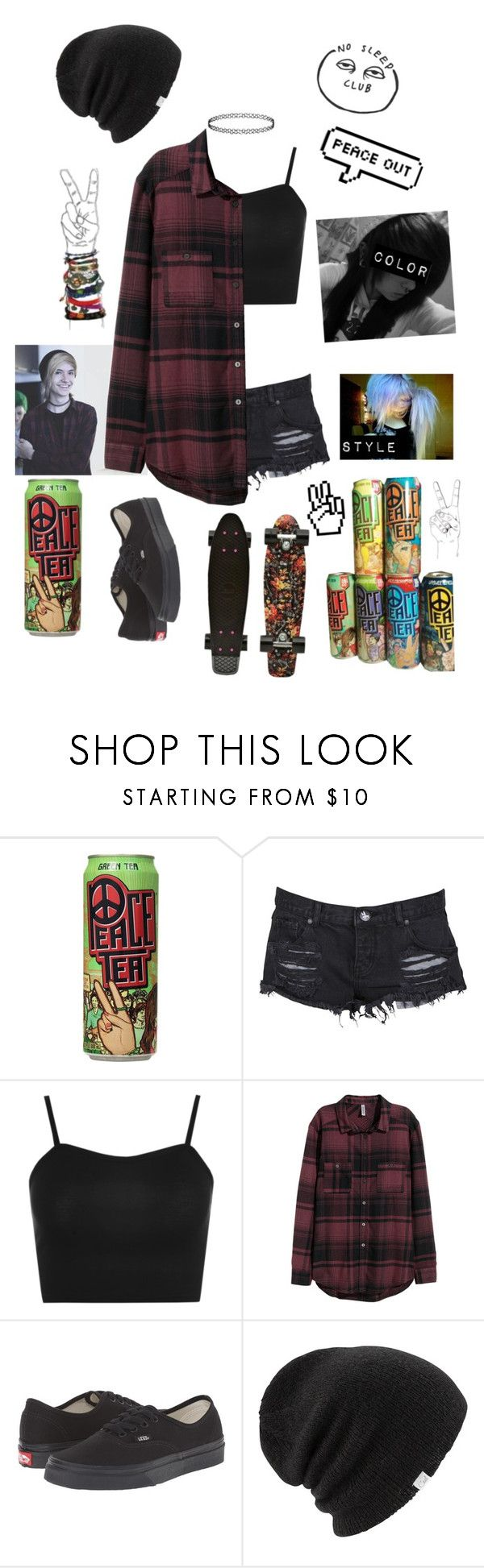 """PEACE TEA IS LIFE"" by literaldisaster ❤ liked on Polyvore featuring OneTeaspoon, WearAll, H&M, Vans, Coal and Strange Days"