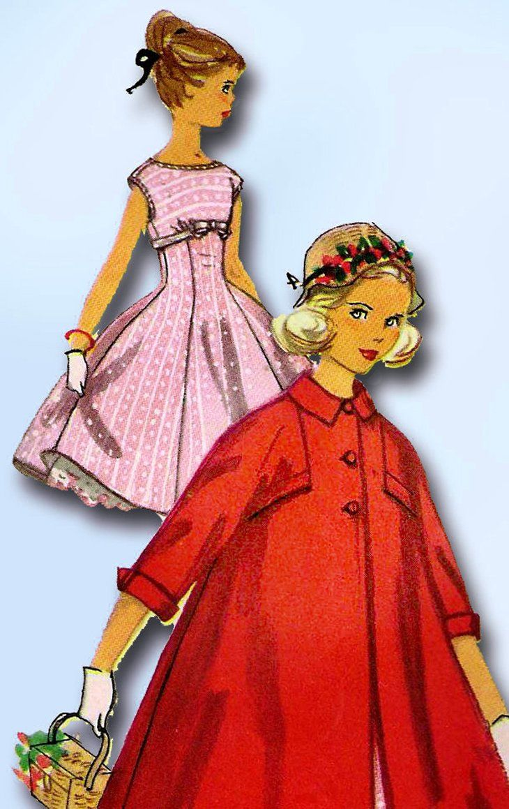 1950s Original Vintage Simplicity Pattern 1940 Uncut Girls Party Dress & Coat 10