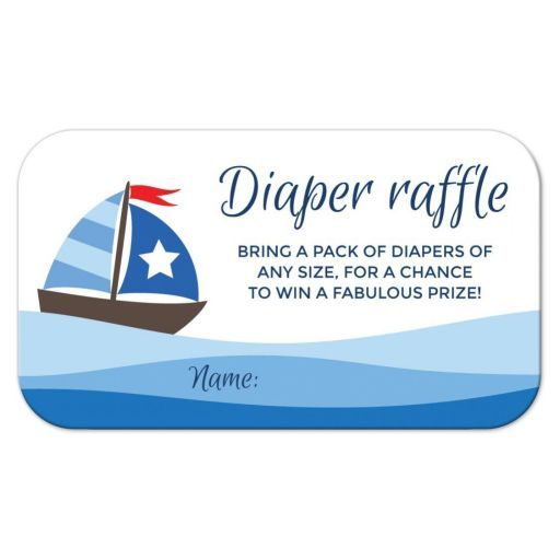 "Nautical baby shower raffle ticket with cute sailboat. This nautical baby shower diaper raffle ticket features a cute cartoon illustration of a little sailboat with blue sails on top of blue waves. Text ""Bring a pack of diapers of any size, for a chance to win a fabulous price"". Matches the same style nautical sailboat baby shower invitation but would be great for any nautical or boat/sailboat themed baby shower."