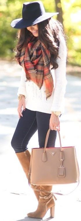 Plaid Scarf + White Sweater + Black Jeans                                                                             Source