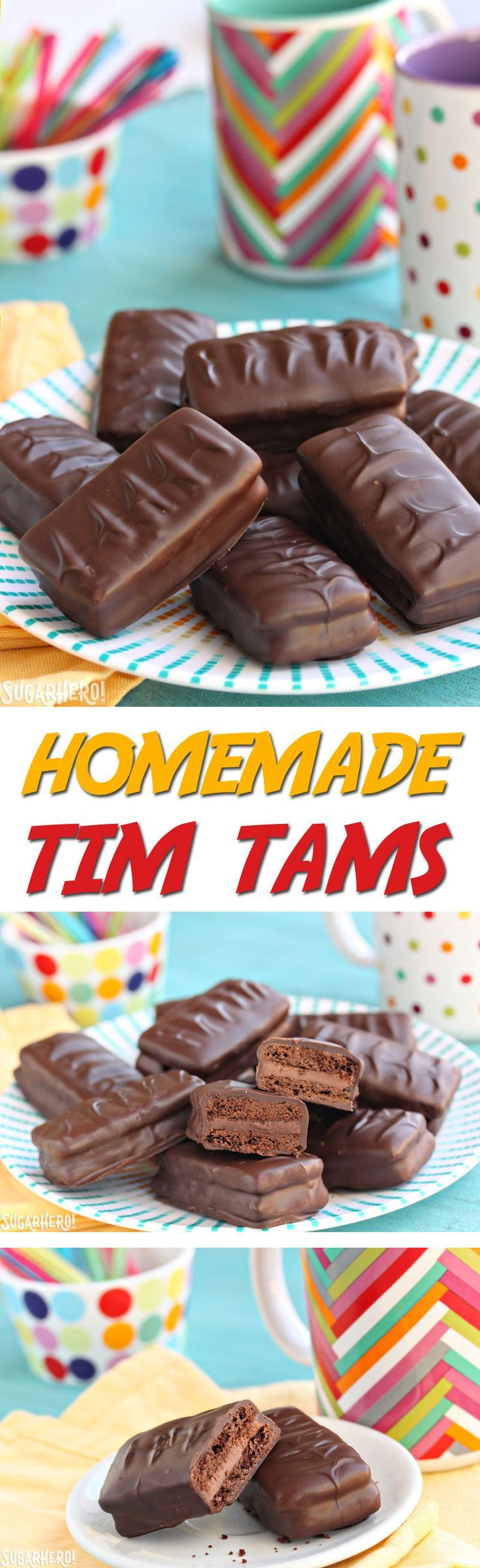 Homemade Tim Tams - chocolate cookies, chocolate malt frosting, and a chocolate coating. It's a chocolate lover's dream come true! | From SugarHero.com