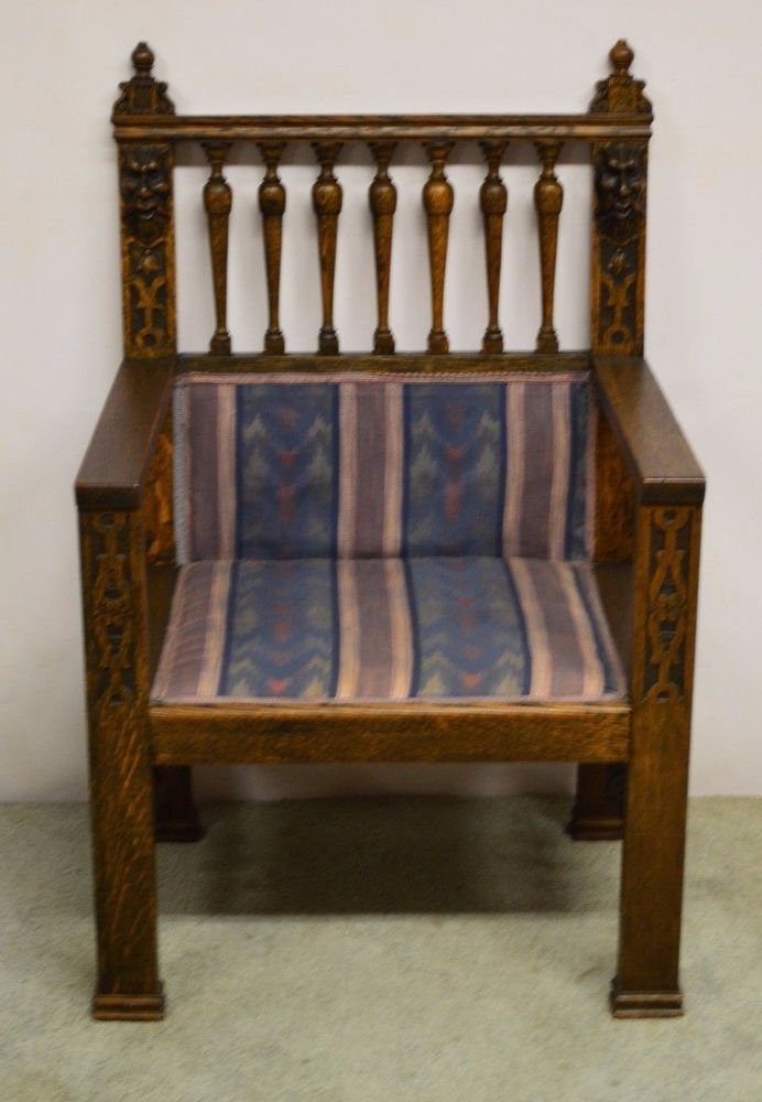 Antique Wind Man Carved Oak Library Arm Chair - Antique Wind Man Carved Oak Library Arm Chair Michigan Home