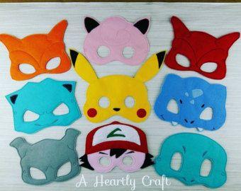 Pokemon Mask SET OF NINE Felt Dress Up by ArielsCustomDesigns