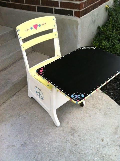 Painted School Desk Chalkboard Top
