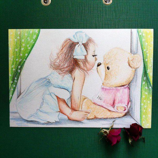 """#ярисую рождественские открытки. Акварельные карандаши #derwent акварельная бумага скорлупа 13*19 """"Любимый подарок"""" #арт #рисунок #открытка #праздник #ребенок #мишка #игрушка #акварельныекарандаши #art #holiday #card #chaild #watercolor #bear"""