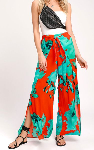 905908d3bc3 On the Road Abigail Red and Teal Blue Print Wrap Pants - BestFashionHQ.com