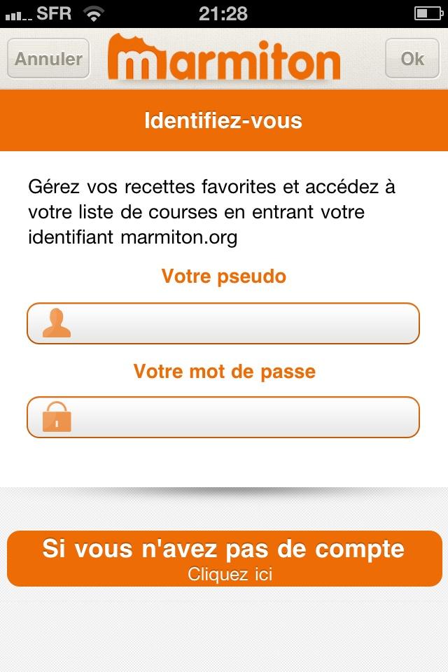 """Screen """"Ma liste"""" """"Mes recettes""""/ synchronisation compte web, appli mobile pour récupérer sa liste de courses, application Marmiton"""