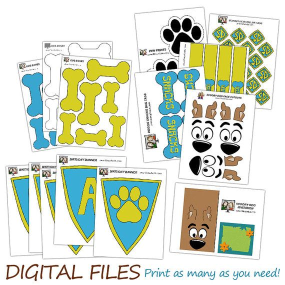 Fiesta de cumpleaños de Scooby Doo--DIGITAL--partido imprimibles (banner, invitación, selecciones de la Magdalena, favor bolsas y más!)