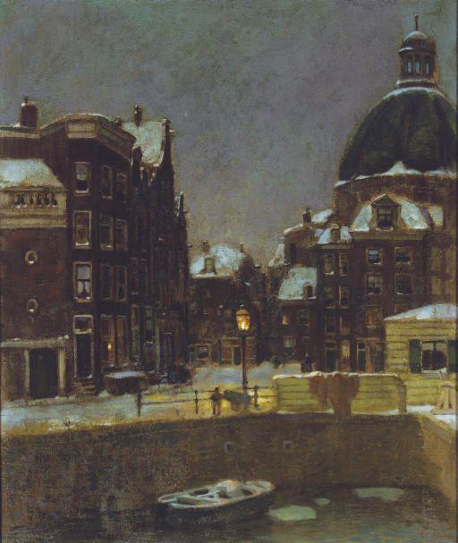 The Singel on a winter's night, Jacob Dooijewaard. Dutch (1876 - 1969)