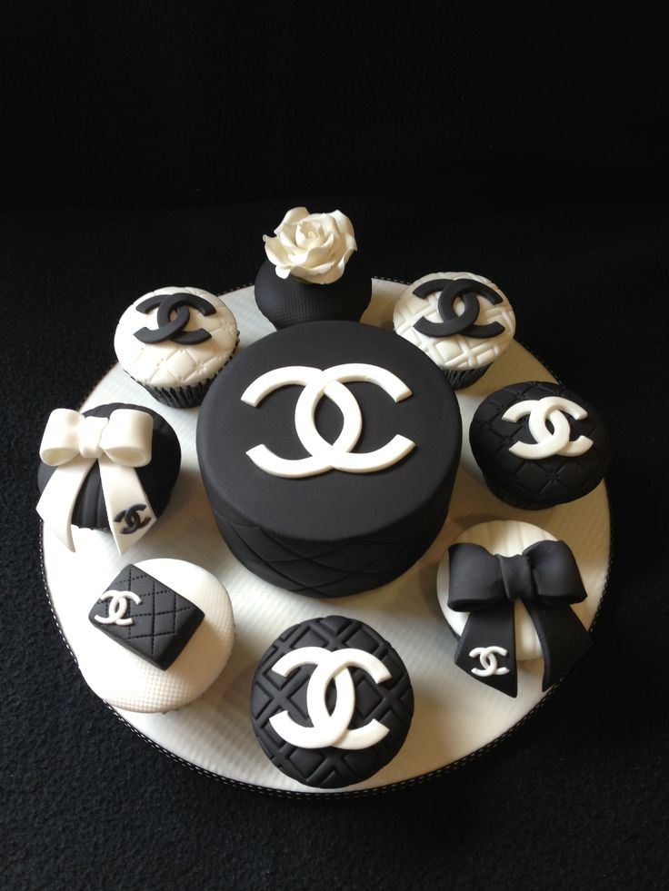 Chanel cake and cupcakes made for an 18th birthday