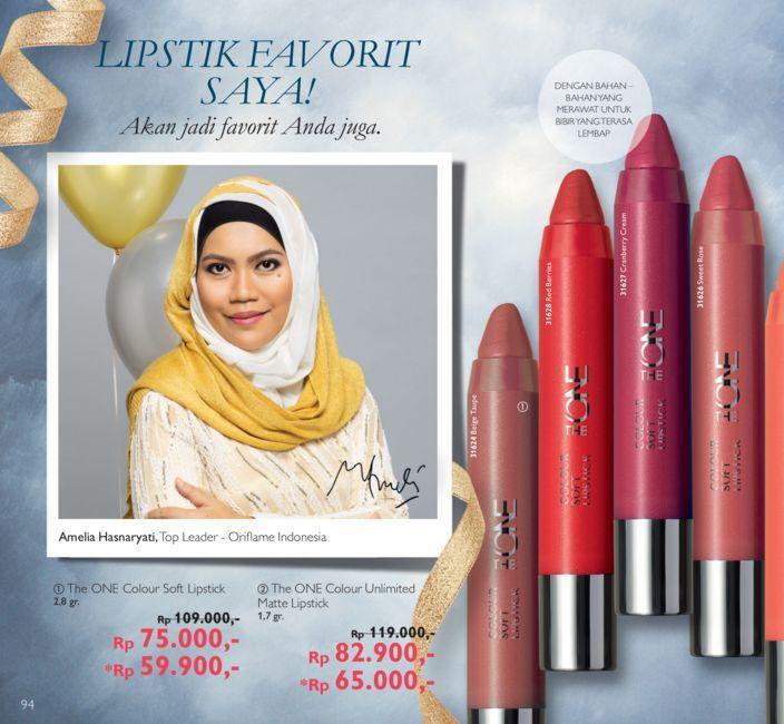 Promo Harga Diskon Katalog Oriflame September 2016  The ONE Colour Soft Lipstick 2,8 gr . Rp 109.000,- menjadi HANYA Rp 75.000,- *Beli 2  The ONE Colour Soft Lipstick menjadi HANYA  Rp 59.900,- / produk