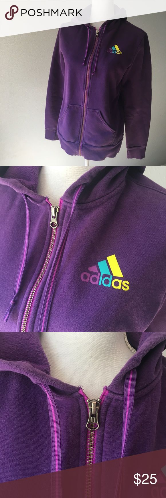 Adidas Purple Zip Up Hoodie No flaws to note. Comes from a smoke-free home.   measurements:  length: 25 inches bust (from pit to pit): 20 inches  I'm a very fast shipper and love to make deals on bundles. Let me know if you have any questions. <3 adidas Tops Sweatshirts & Hoodies