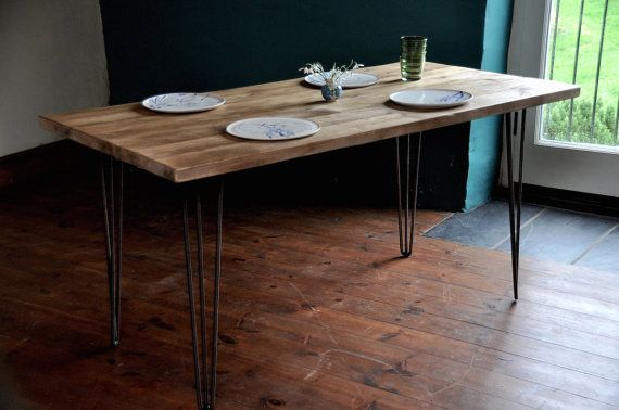 Reclaimed Wood Dining Table Industrial Rustic Vintage by 7MAGOK