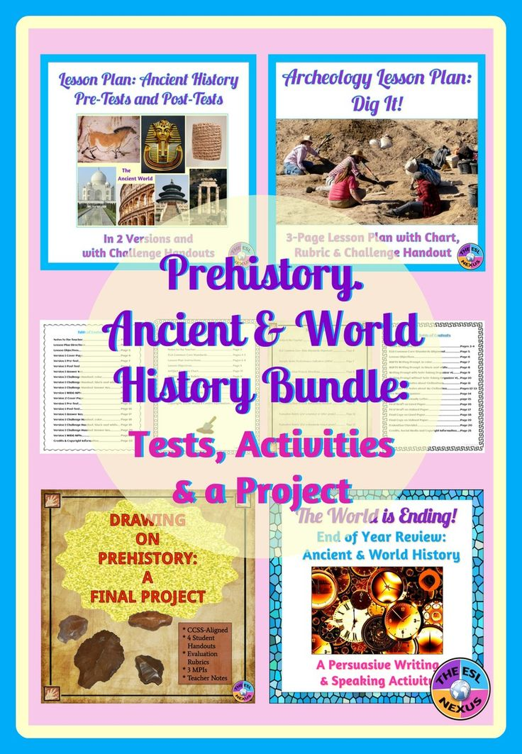4 resources for your Prehistory and Ancient & World History classes: Pre-tests & post-tests, archeology activity, prehistory unit final project, and end of year review writing activity.  Great for the beginning and end of the year!
