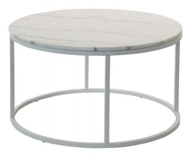 Accent soffbord marmor runt, Ø85, vit/vit