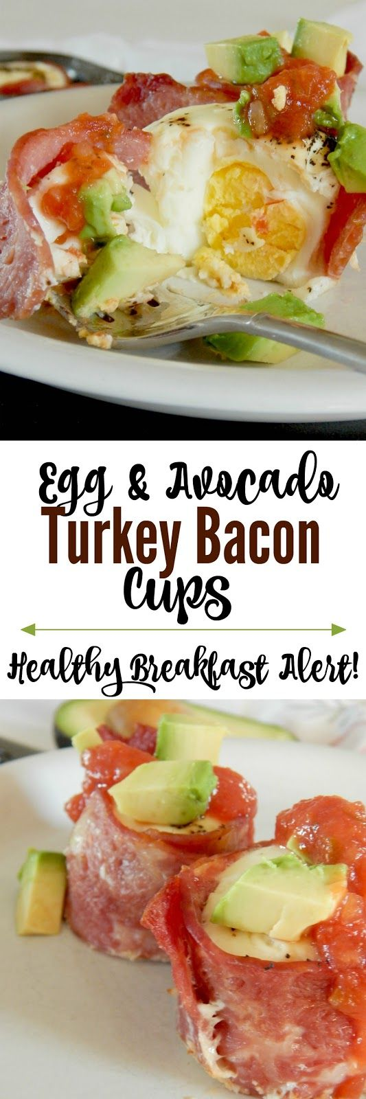 Egg and Avocado Turkey Bacon Cups...a protein-filled, hearty breakfast that's easy to prep ahread and bake off for the week ahead. Turkey bacon, eggs, creamy avocado and salsa make the perfect bite! Sponsored by the Iowa Egg Council.