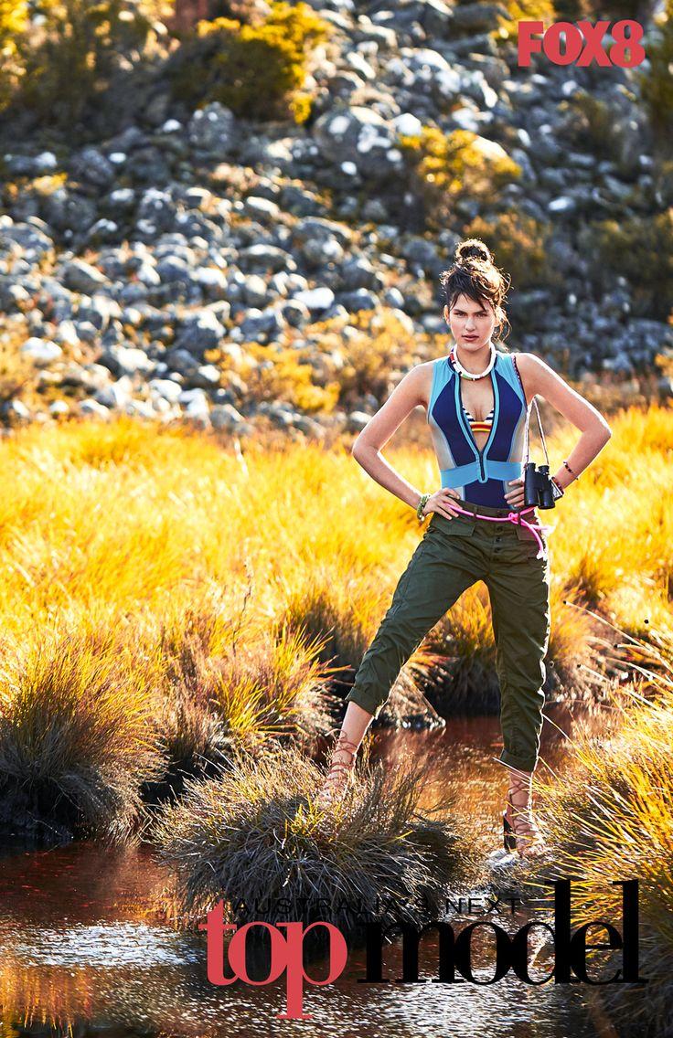 FOX8 Australia's next top model season 10 Episode 5. Sabine wearing the Capri Rush tank suit from Duskii Active Swimwear.