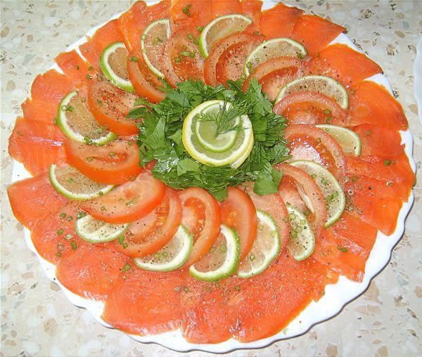 wedding buffet menu: Smoked salmon with lemon black pepper