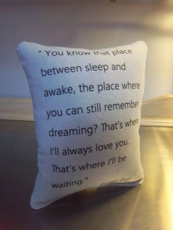 Missing you gift, Peter Pan pillow, long distance cotton cushion, moving away
