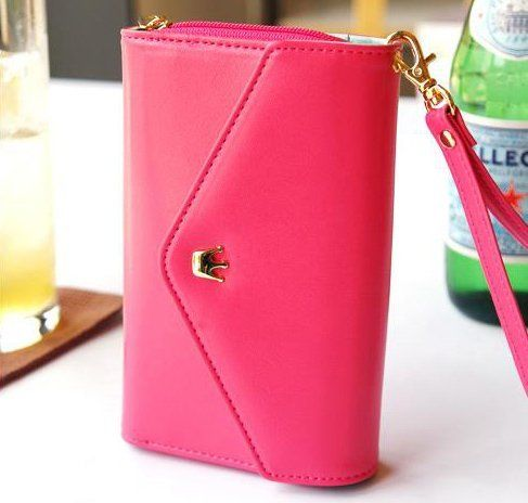 11$ For Multi Fonctions Cutte PU Wallet For Women Hot pink