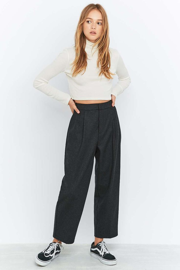 Light Before Dark Grey Flannel Cocoon Trousers - Urban Outfitters