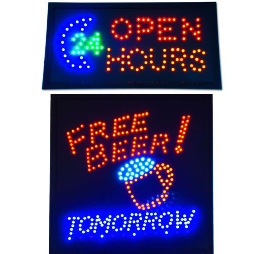 Free-Beer-Tomorrow-Open-24-Hours-LED-Store-Bright-Bar-Animated-Neon-Sign-NEW
