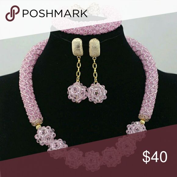 Handmade jewelry 2016 Latest African Wedding Jewelry Sets Cute Baby Pink More Color Nigerian Beads Costume Crystal Accessory Jewelry Necklaces