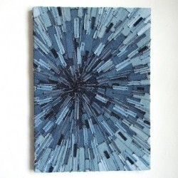 artwork from recycled blue jeans   two great flag ideas from jeans - love love love them!
