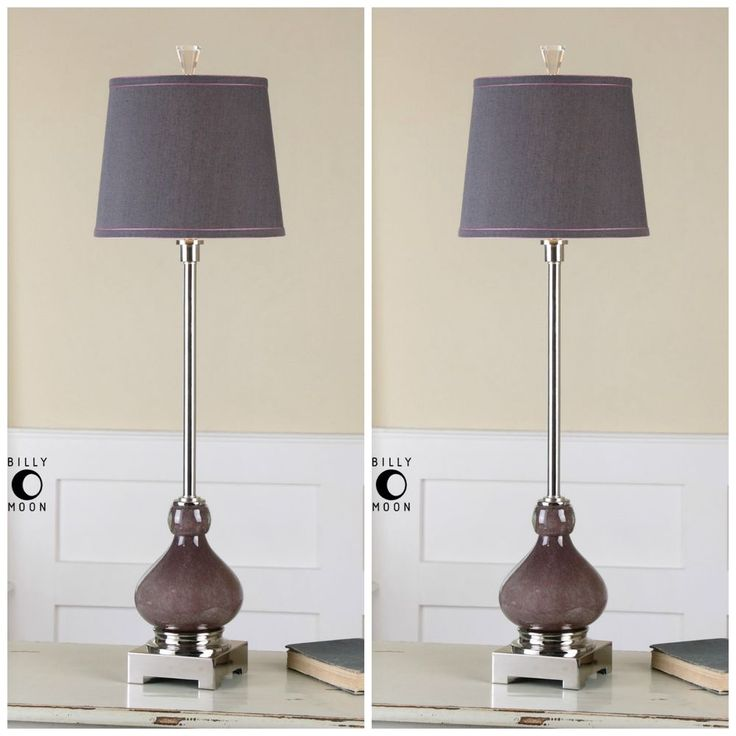 Two new seeded purple glass table lamp nickel crystal accents linen shade light unbranded