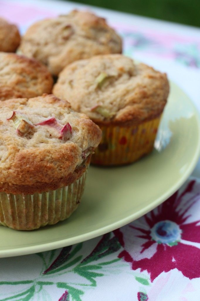 Rhubarb Sour Cream Muffins 2c all-purpose flour; ¾c sugar; 2.5tsp baking powder; 1tsp cinnamon; ½tsp baking soda; ½tsp salt; 1c sour cream; 8Tbs unsalted butter, melted cooled slightly; 2 large eggs; 1tsp vanilla extract; 1½c finely diced rhubarb.