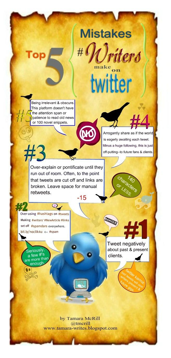 Top 5 mistakes writers make on twitter #pr #infographic #socialmedia