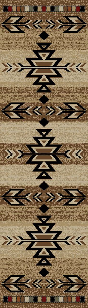 "Dean Santa Fe Southwestern Lodge Cabin Carpet Runner Rug 2'3"" x 7'7"" - Dean Stair Treads"