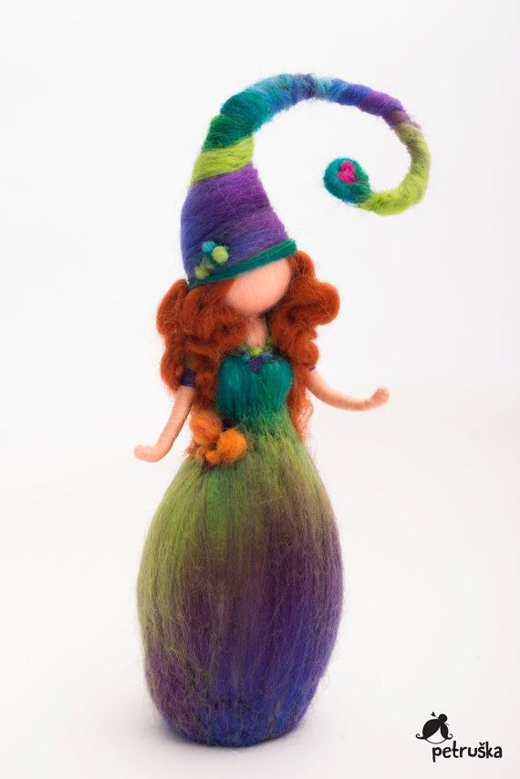 Petruska elf in green purple colors rainbow by PETRUSKAfairyworld