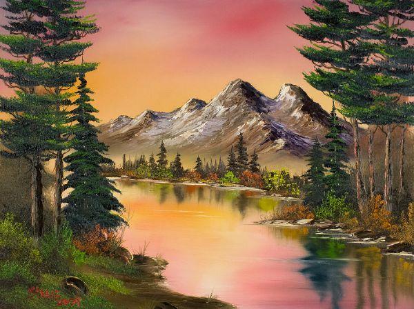 Bob Ross - a sunset or - you choose! Beautifully done - relaxing view -MReno
