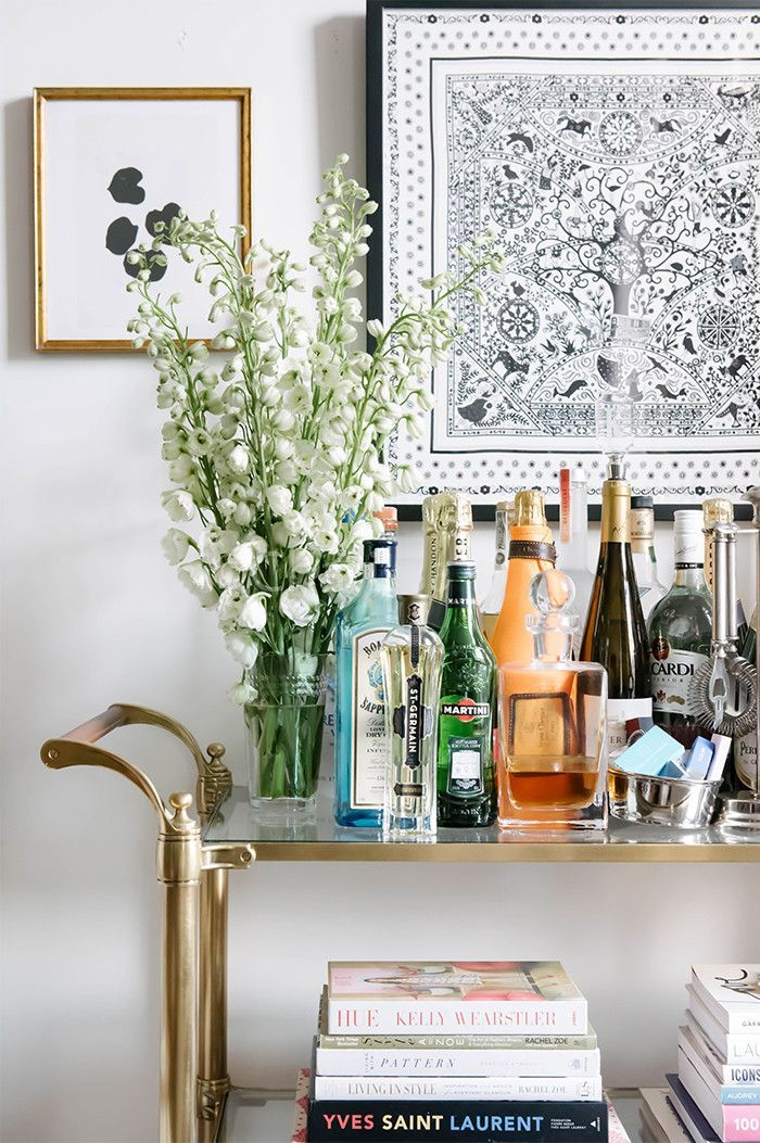 Bar carts have become a modern home must-have. I love this gold version. It's a classic style yet contemporary all the same.