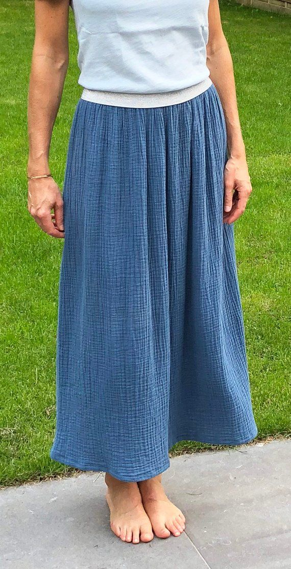 b30a1bad6295 Long skirt in double gauze cotton with elastic gold or silver ...