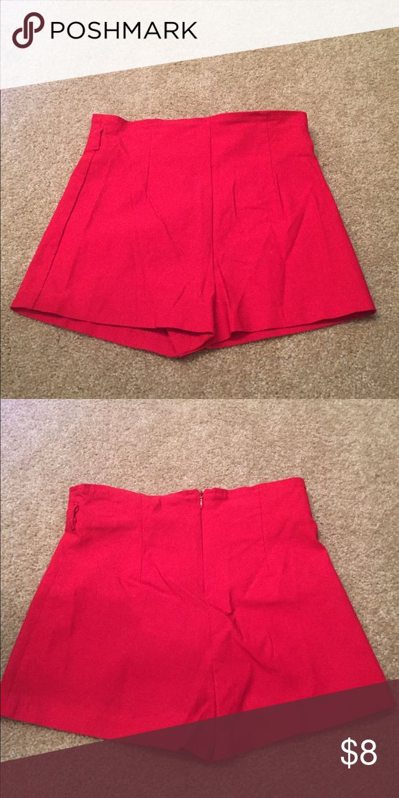 High waisted red shorts Bought on poshmark for halloween costume and i never wore them. High waisted. Body Central Shorts