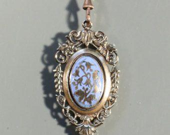 Antieke hanger ketting glazuur hanger aan gouden Toon Extra lange ketting ketting grote hanger Victoriaanse Frans sieraden