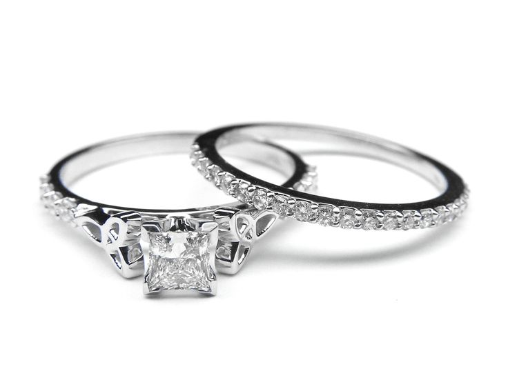 Princess Diamond Cut Celtic Knot Engagement Ring with Diamond Accents . The celtic knot on this ring is beautiful.